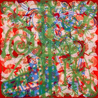 Mayan Diary #4, acrylic silkscreen on plexiglass & tinted plexiglass, 2007